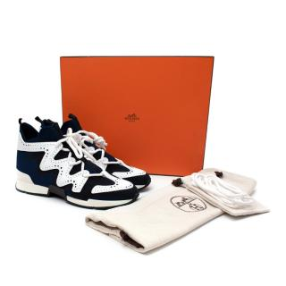 Hermes Action Tricolour Blue Mesh & Leather Sneakers