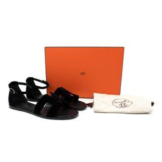 Hermes Santorini Black Velour Ankle Strap Flat Sandal