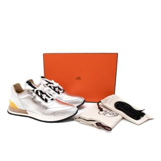 Hermes Buster Metallic Silver & White Leather Sneakers