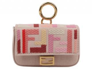 Fendi Pink FF Embroidered Nano Bag Charm
