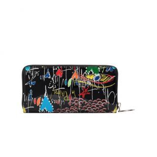Christian Louboutin Black Panettone Graffiti Patent Leather Wallet