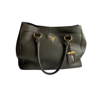 Prada Grey Grained Leather Tote Bag
