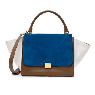 Celine Small Trapeze Tricolour Suede & Leather Shoulder Bag