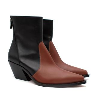 Givenchy Black & Tan Leather Western Ankle Boots