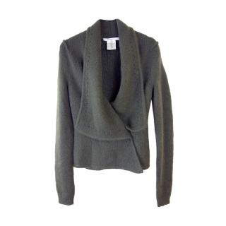 Givenchy Green Mohair Blend Knit Wrap Cardigan