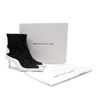 Jimmy Choo/Marine Serre Black Moire Taffeta White Leather Ankle Boots