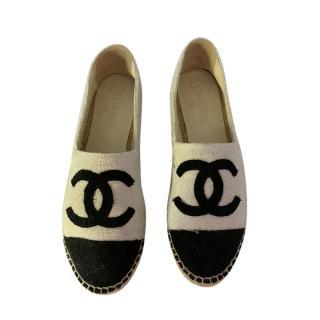 Chanel Metallic White Tweed CC Espadrilles