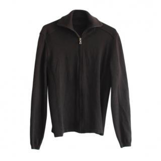Prada leather trimmed Black Cardigan