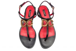 Dolce & Gabbana Black Amore Thong Sandals