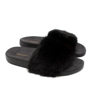 Dolce & Gabbana Black Mink Fur Slides