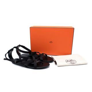 Hermes Aura Black Leather & Webbing Strap Flat Sandals