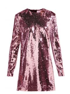 Racil Pink Sequin Long Sleeve Mini Dress