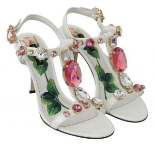 Dolce & Gabbana White Crystal Embellished Sandals