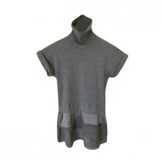 Brunello Cucinelli Grey Layered Silk Blend Top