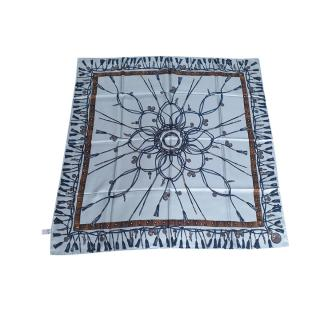 Longchamp Printed  Baltic Blue Silk Scarf