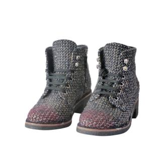 Chanel Multicoloured Tweed Lace-Up Boots