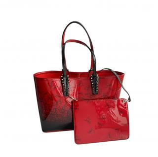 Christian Louboutin Red Cabata Small Patent Leather Tote