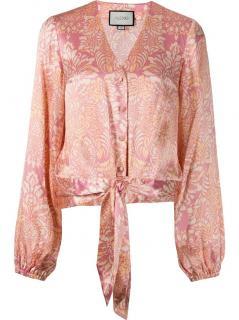 Alexis Peach Floral Print Button Down Disma Blouse