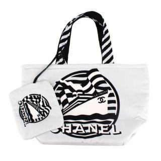 Chanel La Pausa White Cotton Beach Tote Bag