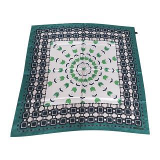 Longchamp Green Printed Silk Scarf