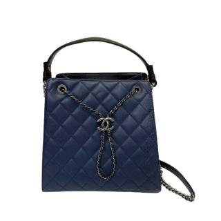 Chanel Navy Quilted Leather Drawstring Tote Bag