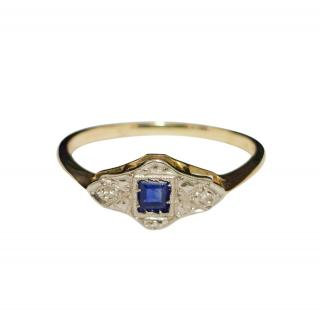 Bespoke Art Deco Diamond & Sapphire Ring