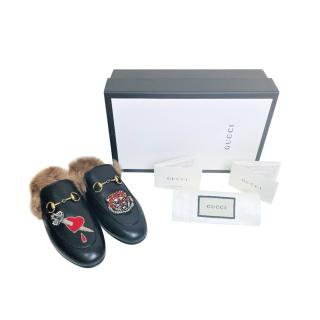 Gucci Black Embroidered Patches Princetown Fur Lined Slippers