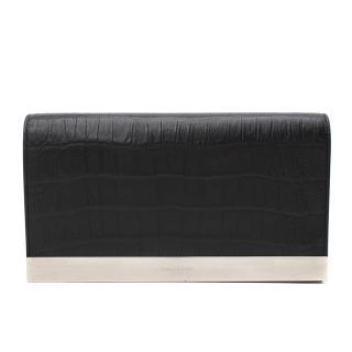 Saint Laurent Black Leather Embossed Crocodile Clutch Bag