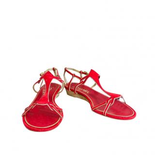 Chanel Red Suede Strappy Sandals