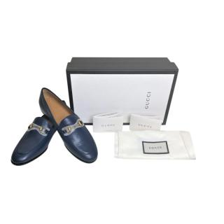 Gucci Blue Smooth Leather Horsebit Loafers