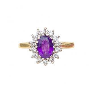Bepokes Diamond & Amethyst 18ct Yellow Gold Ring
