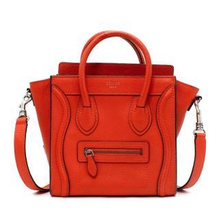 Celine Nano Luggage Red Leather Cross Body Bag