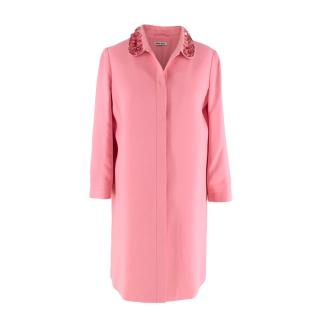 Miu Miu Candy Pink Cady Dress Coat with Sequin Embellished Collar