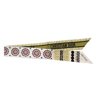 Dior Geometric Print Logo Silk Twill Mitzah Scarf