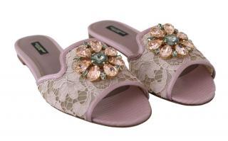 Dolce & Gabbana Pink Lace Crystal Flats
