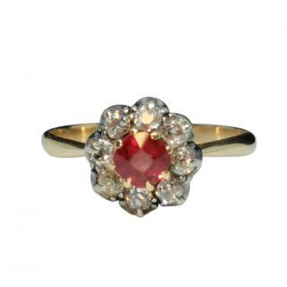 Bespoke Yellow Gold Diamond & Ruby Georgian Revival Ring