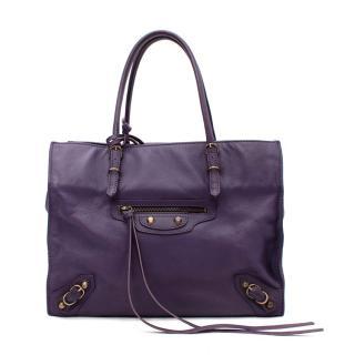 Balenciaga Mini Papier A4 Purple Leather Tote Bag