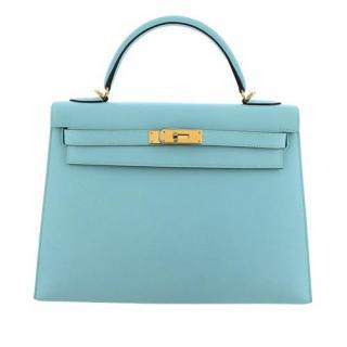 Hermes Epsom Leather Blue Kelly Sellier 32 GHW