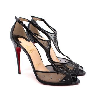 Christian Louboutin Patinana Black Crystal Embellished Mesh Sandals