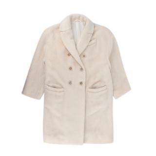 Brunello Cucinelli Ivory Alpaca & Wool Textured Coat