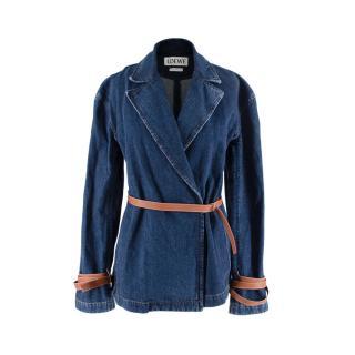 Loewe Blue Denim Blazer with Leather Belt & Wrist Ties