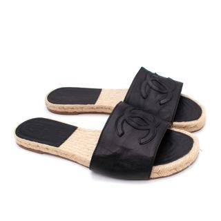 Chanel Black Leather CC Embellished Flat Espadrille Slides