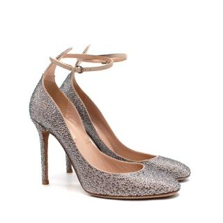 Valentino Poudre Leather Crystal Embellished Ankle Strap Pumps
