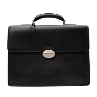 Brioni Black Textured Leather Top Handle Briefcase