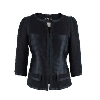 Chanel Black Boucle Tweed Cropped Jacket with Silk Satin Ribbons