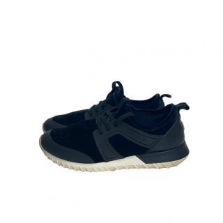 Moncler Black Velvet & Leather Sneakers