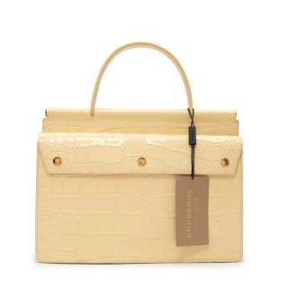 Burberry Glossy Pale Yellow Embossed Croc Leather Top Handle Bag