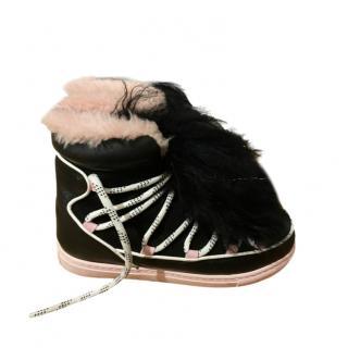 Sophia Webster Black & Pink Shearling Snow Boots