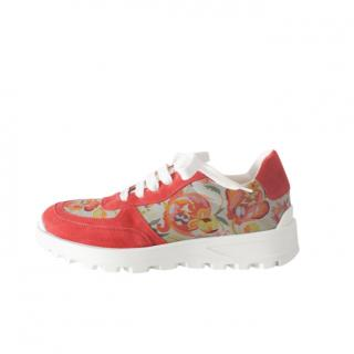 Etro Red Floral Print Sneakers