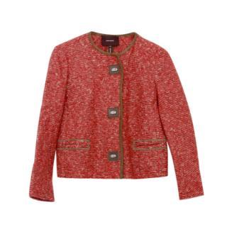 Isabel Marant Burgundy Leather Trim Wool Blend Jacket